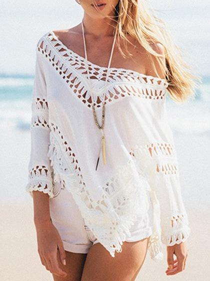 White V-neck Cut Out Detail Long Sleeve Blouse