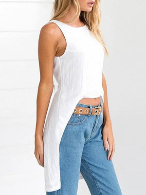 White Backless Split Back Sleeveless Chic Women Hi-Lo Blouse
