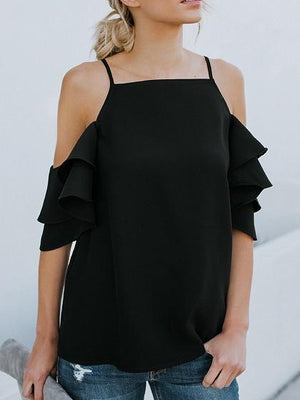 Black Chiffon Cold Shoulder Ruffle Sleeve Chic Women Cami Blouse
