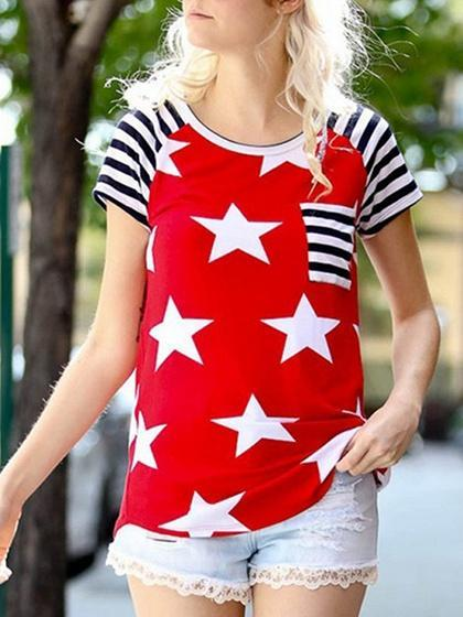 Red Cotton Crew Neck Star Print Stripe Panel Casual Women T-shirt