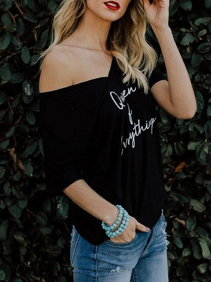 Black Cotton V-neck Letter Print Chic Women T-shirt