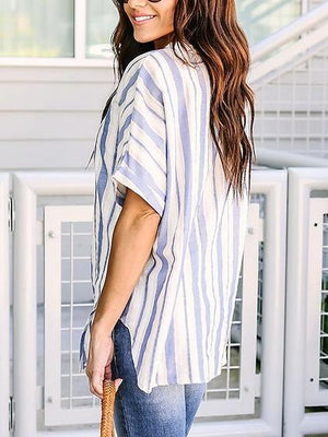 Blue Stripe Cotton Blend V-neck Batwing Sleeve Chic Women Shirt