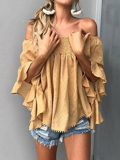 Yellow Off Shoulder Flare Sleeve Chic Women Blouse