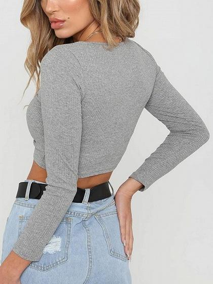 Gray Ribbed V-neck Drawstring Front Long Sleeve Chic Women Crop Top