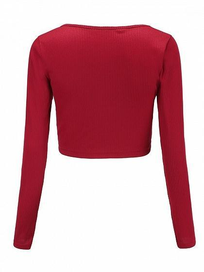 Red Ribbed V-neck Drawstring Front Long Sleeve Chic Women Crop Top