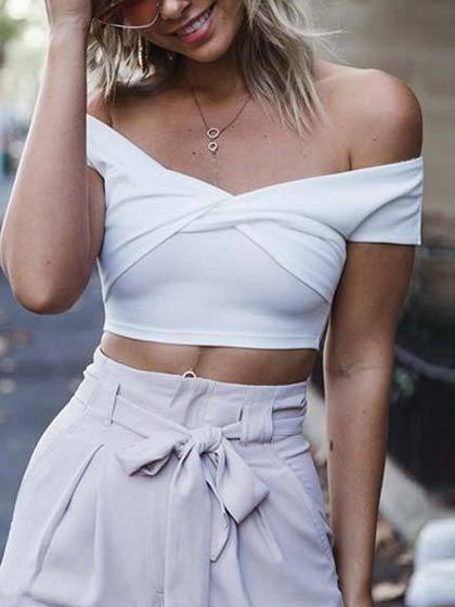 White Cotton Off Shoulder Knot Front Chic Women Crop Top