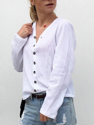 White Cotton V-neck Long Sleeve Chic Women Shirt