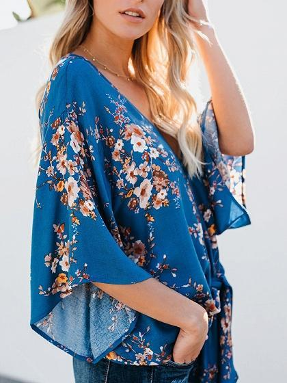 Blue Chiffon V-neck Floral Print Flare Sleeve Chic Women Blouse