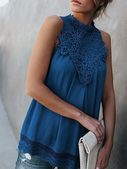 Blue Lace Panel Cut Out Detail Sleeveless Chic Women Tank Top