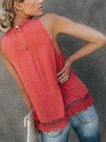 Red Lace Panel Cut Out Detail Sleeveless Chic Women Tank Top