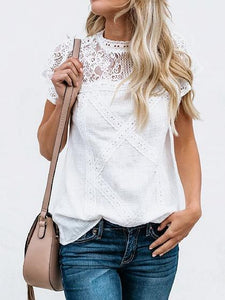 White Cotton Cut Out Detail Lace Panel Chic Women Blouse
