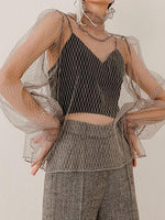 Light Gray High Neck Flare Sleeve Chic Women Sheer Mesh Blouse
