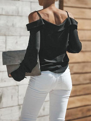 Black Cotton Spaghetti Strap V-neck Long Sleeve Chic Women Shirt