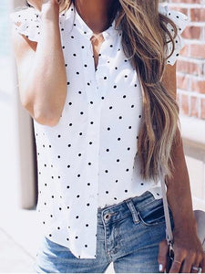 White Chiffon Polka Dot Print Frill Sleeve Chic Women Shirt