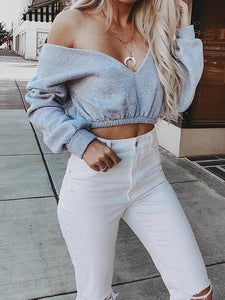 Gray Cotton V-neck Long Sleeve Chic Women Crop Top