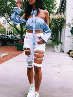Blue Stripe Off Shoulder Button Placket Front Chic Women Crop Top