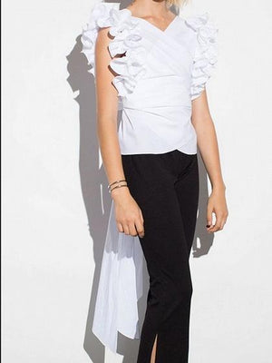 White V-neck Tie Waist Ruffle Sleeve Chic Women Blouse