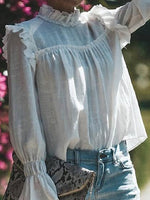 White High Neck Frill Trim Flare Sleeve Chic Women Blouse