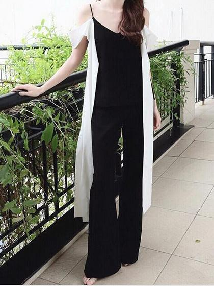 Black V-neck Chic Women Cami Top And High Waist Wide Leg Pants