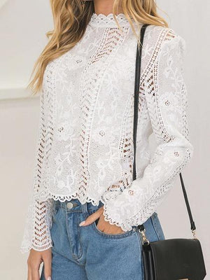 White High Neck Cut Out Detail Long Sleeve Chic Women Lace Blouse