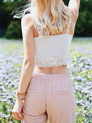 White V-neck Chic Women Lace Crop Cami Top