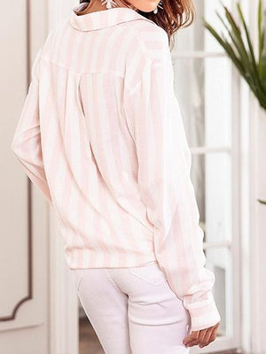 Pink Stripe Cotton Blend Tie Front Long Sleeve Chic Women Shirt