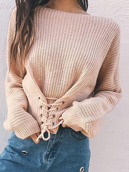 Beige Eyelet Lace Up Front Long Sleeve Chic Women Sweater