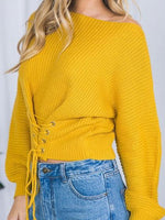Yellow Eyelet Lace Up Front Long Sleeve Chic Women Sweater