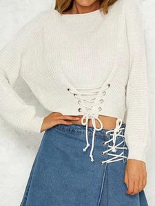 White Eyelet Lace Up Front Long Sleeve Chic Women Sweater