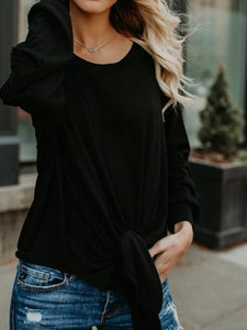 Black Cotton Cold Shoulder Tie Front Long Sleeve Chic Women T-shirt