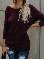 Purple Cotton Knot Detail Open Back Long Sleeve Chic Women T-shirt