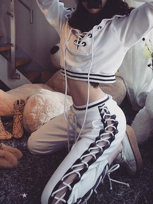 White Eyelet Lace Up Front Long Sleeve Chic Women Crop Hoodie