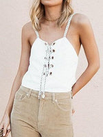 White Eyelet Lace Up Front Open Back Chic Women Cami Top