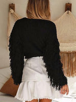 Black Tassel Embellished Long Sleeve Chic Women Knit Sweater