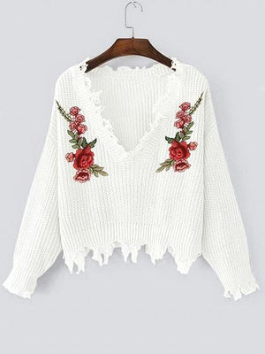 White V-neck Floral Embroidery Long Sleeve Chic Women Knit Sweater