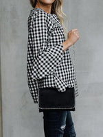 Black Plaid Flare Sleeve Chic Women Blouse