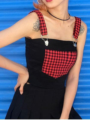 Black Plaid Panel Chic Women Crop Tank Top