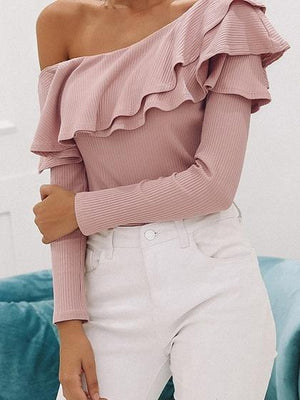 Pink Asymmetric Neck Ruffle Trim Long Sleeve Chic Women Knit Blouse