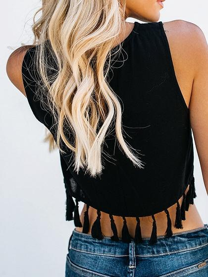 Black Chiffon Tassel Trim Chic Women Crop Tank Top