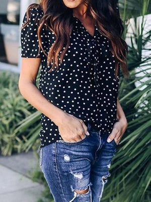 Black Chiffon V-neck Polka Dot Print Tie Front Chic Women Blouse