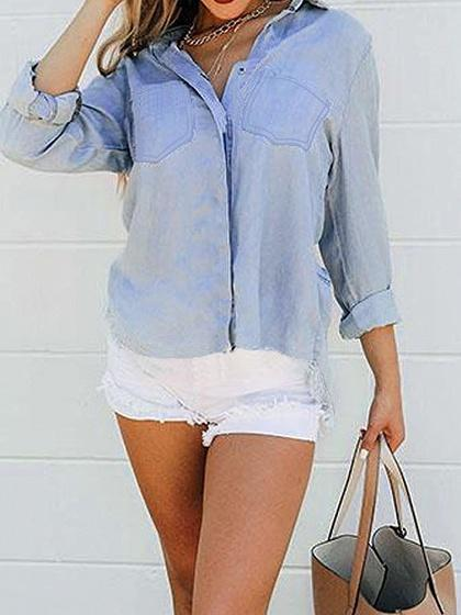 Blue Dipped Hem Long Sleeve Chic Women Denim Blouse