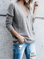 Gray Plunge Long Sleeve Chic Women Knit Sweater