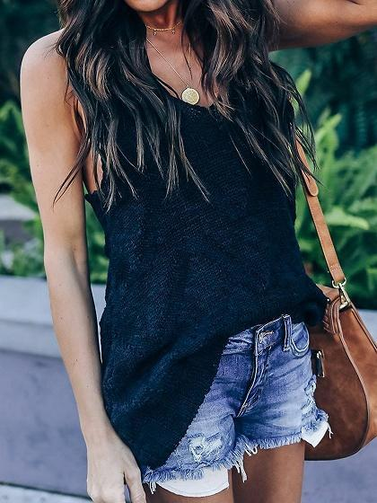 Black V-neck Chic Women Knit Cami Top
