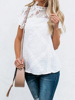 White Cut Out Detail Chic Women Lace Blouse