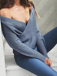 Blue V-neck Long Sleeve Chic Women Knit Sweater