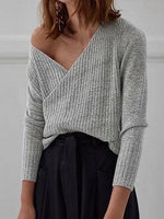 Gray V-neck Long Sleeve Chic Women Knit Sweater