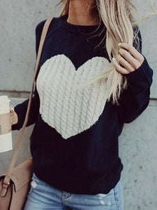 Dark Blue Heart Detail Long Sleeve Chic Women Knit Sweater