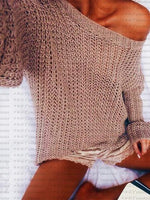 Khaki Long Sleeve Chic Women Knit Sweater