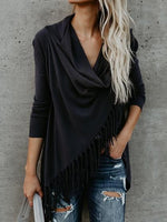 Blue Cotton Tassel Trim Long Sleeve Chic Women Cardigan