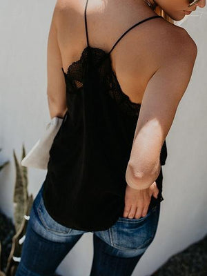 Black V-neck Sheer Mesh Panel Open Back Chic Women Cami Top